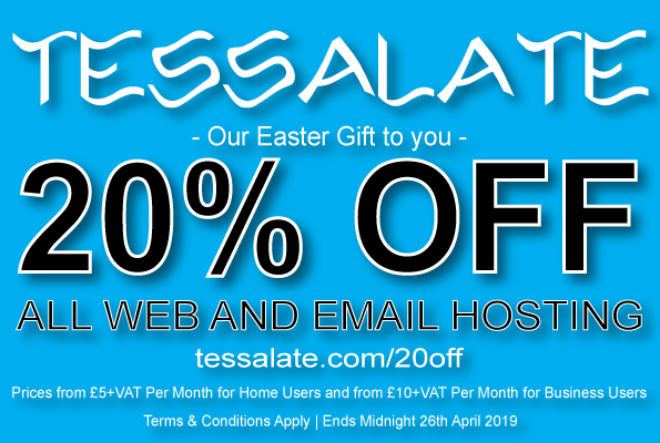 20% off all web and email hosting packages